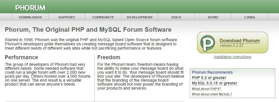 Phorum opensource forum software