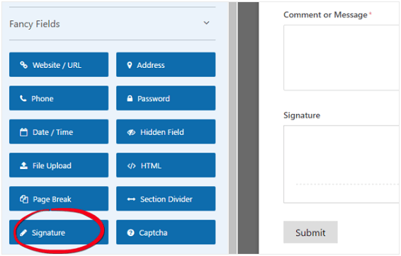 Signature in Wpforms