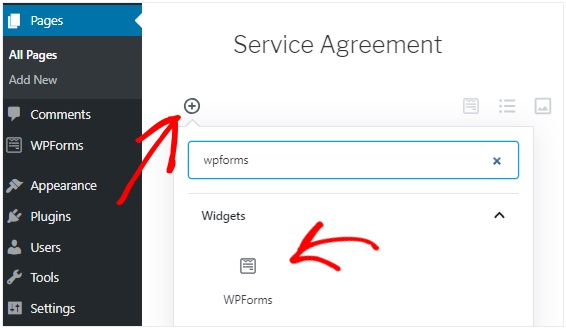 Wpform service agreement