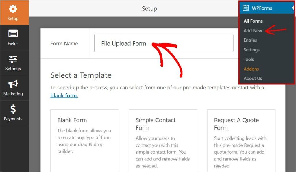 File upload Forms