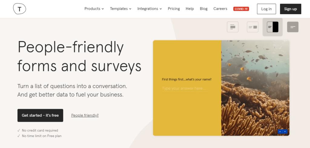 typeforms - best survey software